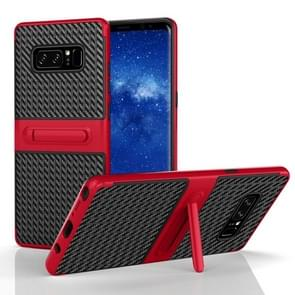 For Samsung Galaxy Note 8 PC Texture Protective Cover Back Case with Built-in Holder (Red)