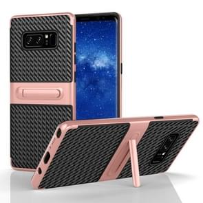For Samsung Galaxy Note 8 PC Texture Protective Cover Back Case with Built-in Holder (Rose Gold)