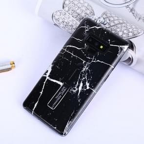 Marble Pattern Embossed Painted TPU + PC Case with Holder for Galaxy Note9(Black)