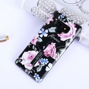 Flowers Pattern Embossed Painted TPU + PC Case with Holder for Galaxy Note9
