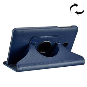 For Samsung Galaxy Tab A 8.0 (2017) / T380 / T385 Litchi Texture Horizontal Flip 360 Degrees Rotation Leather Case with Holder(Dark Blue)