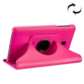 For Samsung Galaxy Tab A 8.0 (2017) / T380 / T385 Litchi Texture Horizontal Flip 360 Degrees Rotation Leather Case with Holder(Magenta)