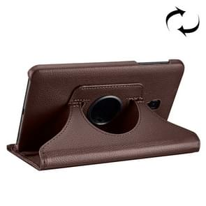 For Samsung Galaxy Tab A 8.0 (2017) / T380 / T385 Litchi Texture Horizontal Flip 360 Degrees Rotation Leather Case with Holder(Brown)