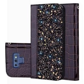 Crocodile Texture Glitter Powder Horizontal Flip Leather Case for Galaxy Note9, with Card Slots & Holder(Black)