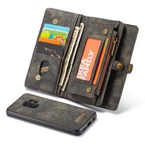 hoesjeMe voor Samsung Galaxy S9+ afneembaar multifunctieeel horizontaal Flip lederen hoesje met opbergruimte voor pinpassen & houder & Zipper portemonnee & Photo Frame(zwart)
