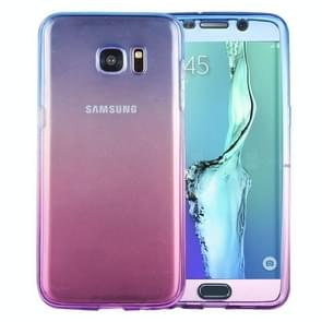 For Samsung Galaxy S6 Edge+ / G928 Double-sided Gradient Color TPU Protective Case Back Cover(Blue + Purple)
