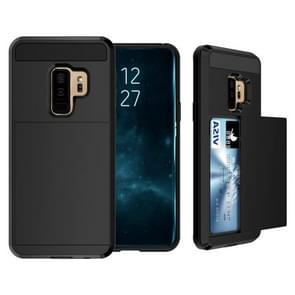 For Galaxy S9+ Detachable Dropproof Protective Back Cover Case with Slider Card Slot(Black)