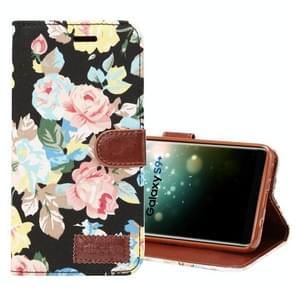 Dibase voor Samsung Galaxy S9+ kleding Bloemen patroon TPU + PU horizontaal Flip lederen hoesje met houder & opbergruimte voor pinpassen(zwart)