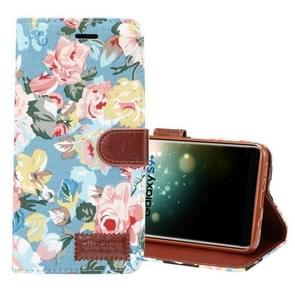 Dibase voor Samsung Galaxy S9+ kleding Bloemen patroon TPU + PU horizontaal Flip lederen hoesje met houder & opbergruimte voor pinpassen(blauw)