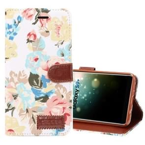 Dibase voor Samsung Galaxy S9+ kleding Bloemen patroon TPU + PU horizontaal Flip lederen hoesje met houder & opbergruimte voor pinpassenwit