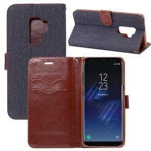Dibase voor Samsung Galaxy S9+ Denim structuur TPU horizontaal Flip lederen hoesje met houder & opbergruimte voor pinpassen(zwart)