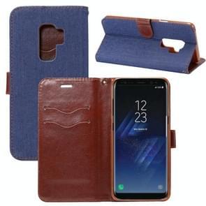Dibase voor Samsung Galaxy S9+ Denim structuur TPU horizontaal Flip lederen hoesje met houder & opbergruimte voor pinpassen(Baby blauw)