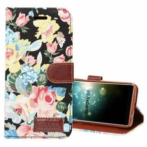 Dibase voor Samsung Galaxy S9 kleding Bloemen patroon TPU + PU horizontaal Flip lederen hoesje met houder & opbergruimte voor pinpassen(zwart)