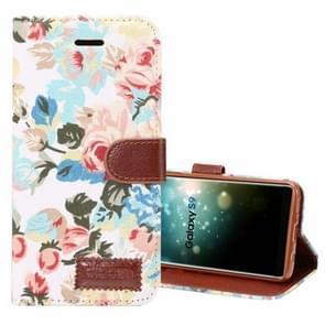 Dibase voor Samsung Galaxy S9 kleding Bloemen patroon TPU + PU horizontaal Flip lederen hoesje met houder & opbergruimte voor pinpassenwit