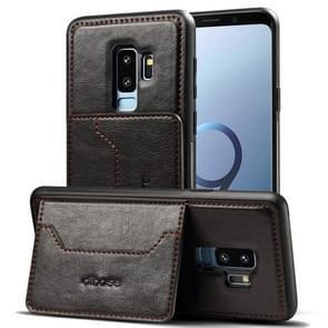 Dibase voor Samsung Galaxy S9+ TPU + PC + PU Crazy Horse structuur beschermings hoesje met houder & opbergruimte voor pinpassen(zwart)