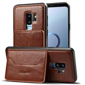 Dibase voor Samsung Galaxy S9+ TPU + PC + PU Crazy Horse structuur beschermings hoesje met houder & opbergruimte voor pinpassen(koffie kleur)