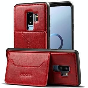 Dibase voor Samsung Galaxy S9+ TPU + PC + PU Crazy Horse structuur beschermings hoesje met houder & opbergruimte voor pinpassen(rood)