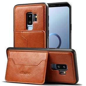 Dibase voor Samsung Galaxy S9+ TPU + PC + PU Crazy Horse structuur beschermings hoesje met houder & opbergruimte voor pinpassen(bruin)