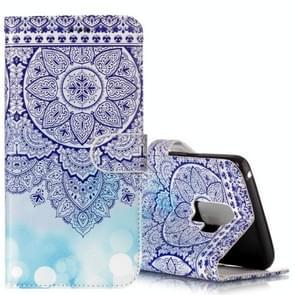 Voor Samsung Galaxy S9+ Gloss Oil Embossed blauw Totem Bloemen patroon horizontaal Flip lederen hoesje met houder & opbergruimte voor pinpassen & portemonnee