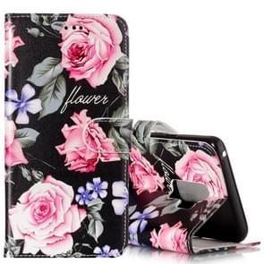 Voor Samsung Galaxy S9+ Gloss Oil Embossed Peony Floral patroon horizontaal Flip lederen hoesje met houder & opbergruimte voor pinpassen & portemonnee