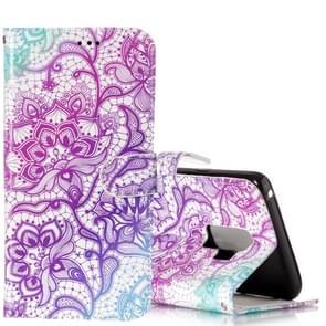 Voor Samsung Galaxy S9+ Gloss Oil Embossed Paars Lotus Bloemen patroon horizontaal Flip lederen hoesje met houder & opbergruimte voor pinpassen & portemonnee