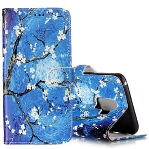 Voor Samsung Galaxy S9+ Gloss Oil Embossed blauw Bloemen patroon horizontaal Flip lederen hoesje met houder & opbergruimte voor pinpassen & portemonnee