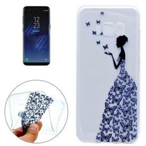 For Samsung Galaxy S8 + / G955 Butterfly and Girl Pattern IMD Workmanship Soft TPU Protective Case