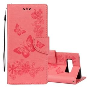 For Samsung Galaxy Note 8 Pressed Flowers Butterfly Pattern Horizontal Flip Leather Case with Holder & Card Slots & Wallet & Lanyard (Pink)