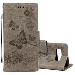 For Samsung Galaxy Note 8 Pressed Flowers Butterfly Pattern Horizontal Flip Leather Case with Holder & Card Slots & Wallet & Lanyard (Grey)