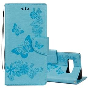 For Samsung Galaxy Note 8 Pressed Flowers Butterfly Pattern Horizontal Flip Leather Case with Holder & Card Slots & Wallet & Lanyard (Blue)