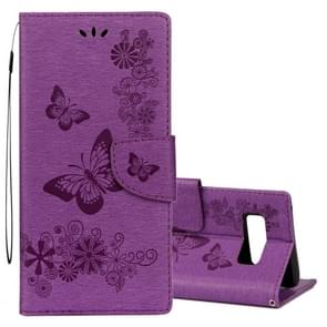 For Samsung Galaxy Note 8 Pressed Flowers Butterfly Pattern Horizontal Flip Leather Case with Holder & Card Slots & Wallet & Lanyard (Purple)