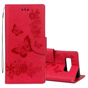 For Samsung Galaxy Note 8 Pressed Flowers Butterfly Pattern Horizontal Flip Leather Case with Holder & Card Slots & Wallet & Lanyard (Red)