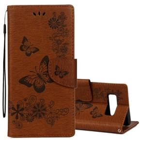 For Samsung Galaxy Note 8 Pressed Flowers Butterfly Pattern Horizontal Flip Leather Case with Holder & Card Slots & Wallet & Lanyard (Brown)