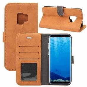 Voor Samsung Galaxy S9 Sheep Bar Materiaal PU + PC horizontaal Flip lederen hoesje met houder & opbergruimte voor pinpassen & portemonnee(bruin)