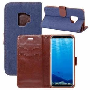 Dibase voor Samsung Galaxy S9 Denim structuur TPU horizontaal Flip lederen hoesje met houder & opbergruimte voor pinpassen(donker blauw)