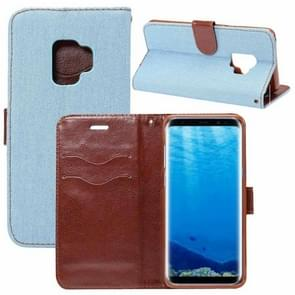 Dibase voor Samsung Galaxy S9 Denim structuur TPU horizontaal Flip lederen hoesje met houder & opbergruimte voor pinpassen(Baby blauw)