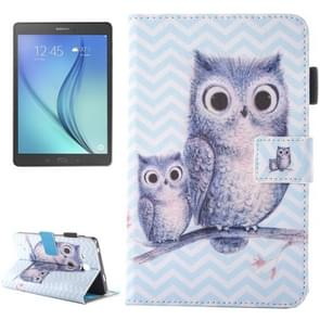For Samsung Galaxy Tab A 7.0 (2016) / T280 Lovely Cartoon Wave Owl Pattern Horizontal Flip Leather Case with Holder & Card Slots & Pen Slot