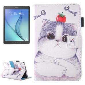 For Samsung Galaxy Tab A 7.0 (2016) / T280 Lovely Cartoon Tomato Cat Pattern Horizontal Flip Leather Case with Holder & Card Slots & Pen Slot