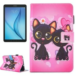 For Samsung Galaxy Tab E 8.0 / T377 Lovely Cartoon Cat Couple Pattern Horizontal Flip Leather Case with Holder & Card Slots & Pen Slot
