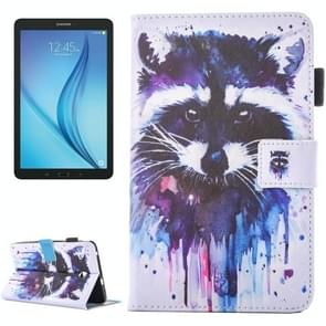 For Samsung Galaxy Tab E 8.0 / T377 Lovely Cartoon Raccoon Pattern Horizontal Flip Leather Case with Holder & Card Slots & Pen Slot