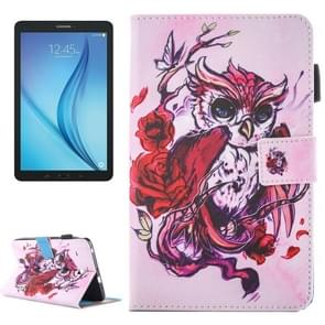For Samsung Galaxy Tab E 8.0 / T377 Lovely Cartoon Butterfly Owl Pattern Horizontal Flip Leather Case with Holder & Card Slots & Pen Slot