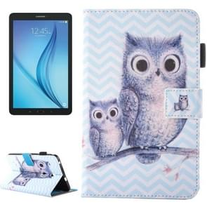 For Samsung Galaxy Tab E 8.0 / T377 Lovely Cartoon Wave Owl Pattern Horizontal Flip Leather Case with Holder & Card Slots & Pen Slot