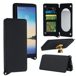 For Samsung Galaxy Note 8 Protective Back Case Cover with Card Slot & Photo Frame & Holder & Mirror (Black)