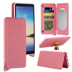 For Samsung Galaxy Note 8 Protective Back Case Cover with Card Slot & Photo Frame & Holder & Mirror (Pink)