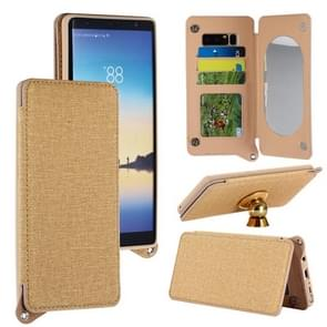 For Samsung Galaxy Note 8 Protective Back Case Cover with Card Slot & Photo Frame & Holder & Mirror (Gold)