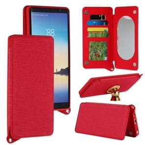 For Samsung Galaxy Note 8 Protective Back Case Cover with Card Slot & Photo Frame & Holder & Mirror (Red)