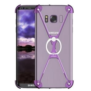 OATSBASF for Samsung Galaxy S8 Type-X Metal Four Angle Anti Falling Protective Case with Ring Holder(Purple)