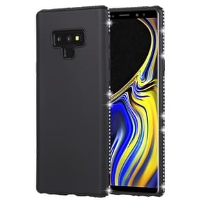 Crystal Decor Sides Smooth Surface Soft TPU Protective Back Case for Galaxy Note9(Black)