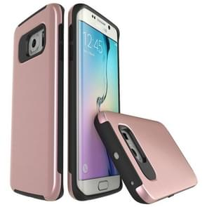 For Samsung Galaxy S6 Edge / G925 Simple Brushed Texture 2 in 1 PC + TPU Combination Protective Case (Rose Gold)