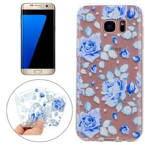 For Samsung Galaxy S7 Edge Colorful Blue Flower Pattern TPU Protective Case